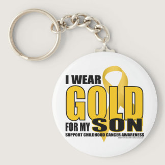 Childhood Cancer Gold for Son Keychain