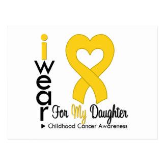 Childhood Cancer Gold Heart Ribbon For Daughter Postcard