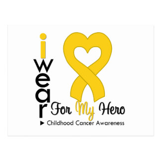 Childhood Cancer Gold Heart Ribbon For MY HERO Postcard