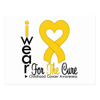 Childhood Cancer Gold Heart Ribbon For The CURE Postcard