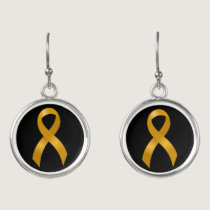 Childhood Cancer Gold Ribbon Earrings