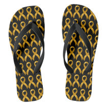 Childhood Cancer Gold Ribbon Flip Flops