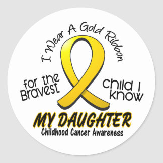 Childhood Cancer Gold Ribbon For My Daughter Classic Round Sticker