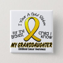 Childhood Cancer Gold Ribbon For My Granddaughter Button