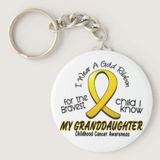 Childhood Cancer Gold Ribbon For My Granddaughter Keychain