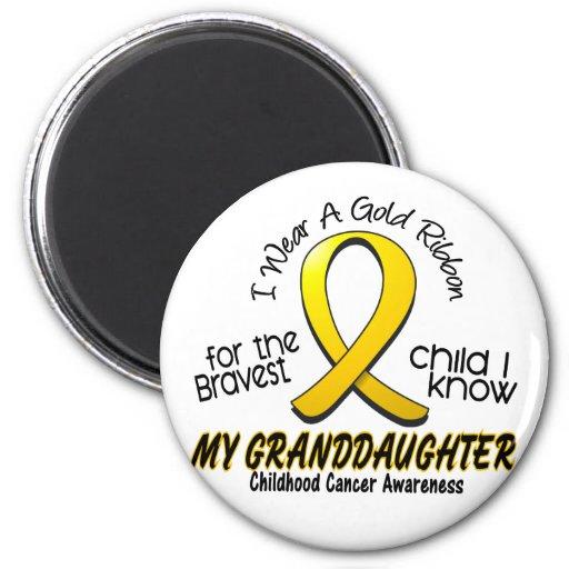 Childhood Cancer Gold Ribbon For My Granddaughter Magnets