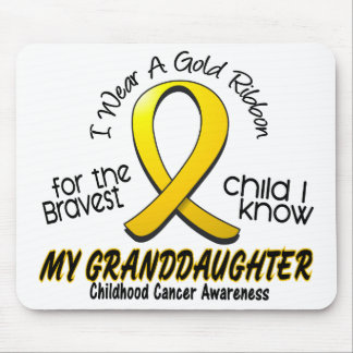 Childhood Cancer Gold Ribbon For My Granddaughter Mouse Pads