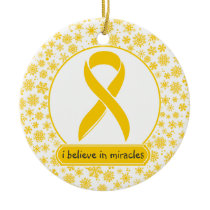 Childhood Cancer Gold Ribbon Ornament