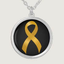 Childhood Cancer Gold Ribbon Silver Plated Necklace