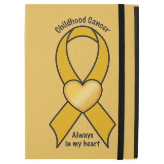 """Childhood Cancer Gold Ribbon with Heart iPad Pro 12.9"""" Case"""