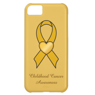 Childhood Cancer Gold Ribbon with Heart iPhone 5C Covers