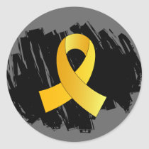 Childhood Cancer Gold Ribbon With Scribble Classic Round Sticker