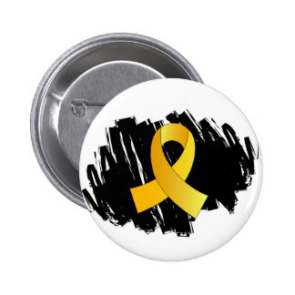 Childhood Cancer Gold Ribbon With Scribble Pinback Button