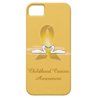 Childhood Cancer Gold Ribbon with Swans iPhone 5 Case