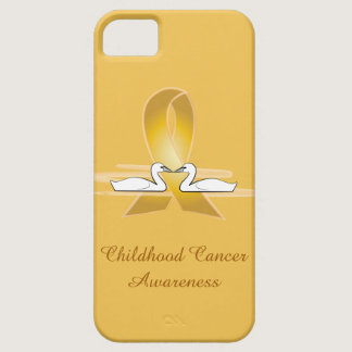 Childhood Cancer Gold Ribbon with Swans iPhone SE/5/5s Case