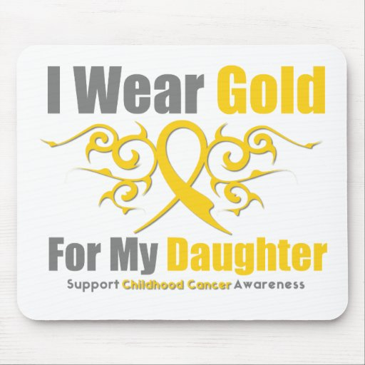 CHILDHOOD CANCER Gold Tribal Ribbon Daughter Mouse Pad