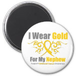 CHILDHOOD CANCER Gold Tribal Ribbon Nephew Fridge Magnet