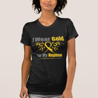 CHILDHOOD CANCER Gold Tribal Ribbon Nephew Tshirts