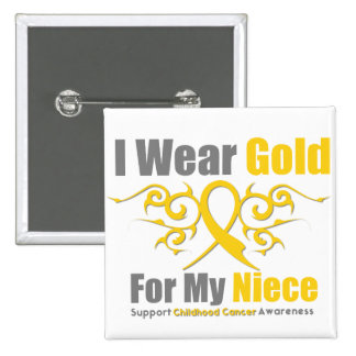 CHILDHOOD CANCER Gold Tribal Ribbon Niece Pinback Button