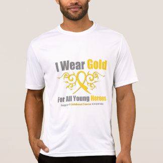 CHILDHOOD CANCER Gold Tribal Ribbon Young Heroes Shirt