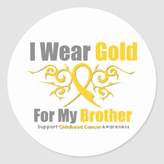CHILDHOOD CANCER Gold Tribal Ribon Brother Classic Round Sticker