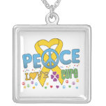 Childhood Cancer Groovy Peace Love Cure Pendants