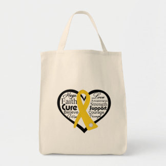 Childhood Cancer Heart Ribbon Collage Bags