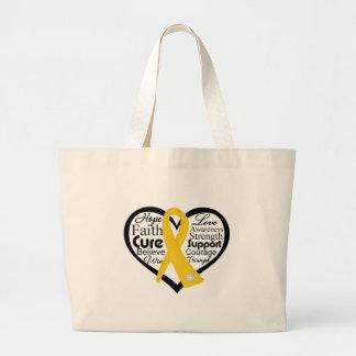 Childhood Cancer Heart Ribbon Collage Jumbo Tote Bag