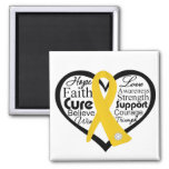 Childhood Cancer Heart Ribbon Collage Magnet