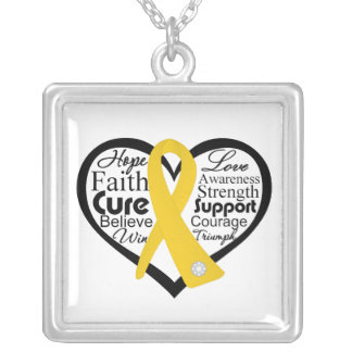 Childhood Cancer Heart Ribbon Collage Square Pendant Necklace
