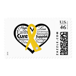 Childhood Cancer Heart Ribbon Collage Stamps