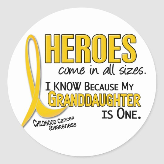 Childhood Cancer Heroes All Sizes 1 Granddaughter Classic Round Sticker