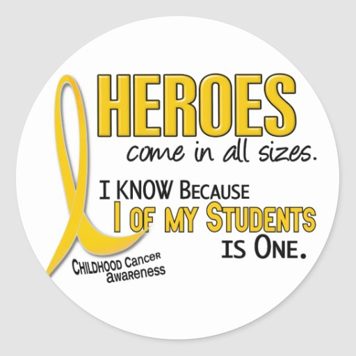 Childhood Cancer Heroes All Sizes 1 Student Classic Round Sticker
