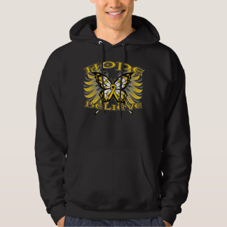 Childhood Cancer Hope Believe Butterfly Hooded Pullover