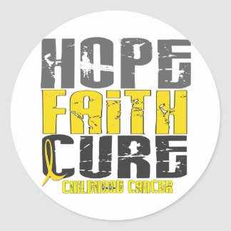 Childhood Cancer HOPE FAITH CURE Classic Round Sticker
