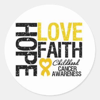 Childhood Cancer Hope Love Faith Classic Round Sticker
