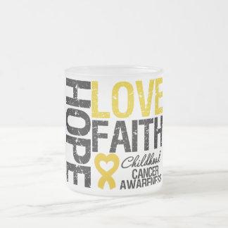 Childhood Cancer Hope Love Faith Frosted Glass Coffee Mug