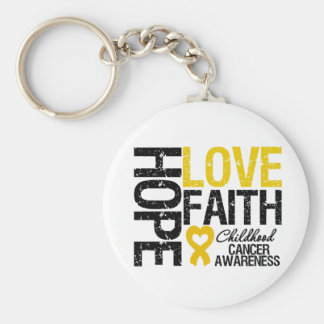 Childhood Cancer Hope Love Faith Keychain