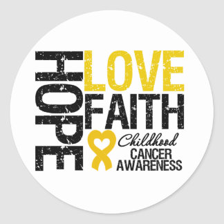 Childhood Cancer Hope Love Faith Round Sticker