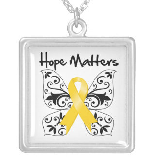 Childhood Cancer Hope Matters Square Pendant Necklace