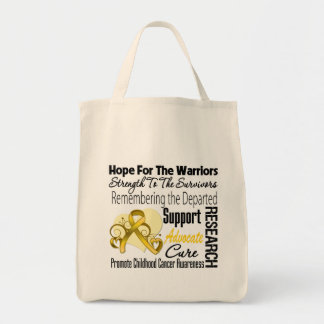 Childhood Cancer Hope Tribute Collage Grocery Tote Bag