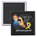 Childhood Cancer I Fight Like a Girl Rosie Riveter Refrigerator Magnet