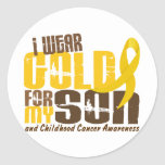 Childhood Cancer I WEAR GOLD FOR MY SON 6.3 Round Stickers