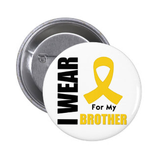 Childhood Cancer I Wear Gold Ribbon Brother Pinback Button