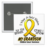 Childhood Cancer I Wear Gold Ribbon For Grandson 2 Inch Square Button