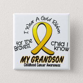 Childhood Cancer I Wear Gold Ribbon For Grandson Button