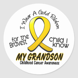 Childhood Cancer I Wear Gold Ribbon For Grandson Classic Round Sticker