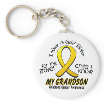 Childhood Cancer I Wear Gold Ribbon For Grandson Keychain