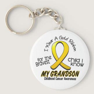 Childhood Cancer I Wear Gold Ribbon For Grandson Keychain