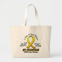 Childhood Cancer I Wear Gold Ribbon For Grandson Large Tote Bag